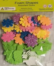 Crafting Foam Shapes Assortment Sizes Non-Toxic Glittered Flowers, Leave New