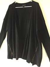 Lane Bryant Womens 14/16 Long Sleeve Open Cardigan Sweater Black Zippers