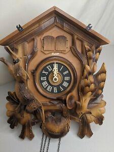 Vntg Antq Gebruder Kuner Cuckoo Clock Hand Carved Germany Black Forest Untested