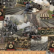 1 Half Metre length Railway Express Steam Trains Print Fabric - 8507-99