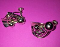 Vintage 1960s modernist abstract silver tone earrings screw back