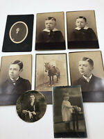 8 Antique Cabinet Photo Photograph Victorian Boy Horse Child Toddler 1890