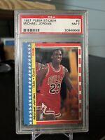 1987-88 Fleer Sticker MICHAEL JORDAN Bulls HOF #2 PSA 7