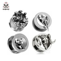 Stainless steel Ear Gauges and Ear Tunnels Body Piercing Ear Plugs 2pcs Gift