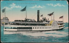 BALTIMORE MD Harbor Steamer Louise to Tolcherster Beach Vtg Color Postcard Old