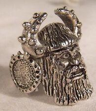 VIKING BIKER RING BR30 HEAVY silver horns helmet new novelty fashion jewelry men