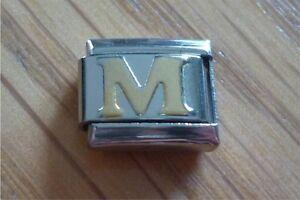 Italian Charms - Gold Letters Letter M Fits Classic Size Italian Charm Bracelet