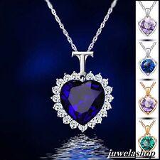 Weihnachtsgeschenk OZEAN HERZ ANHÄNGER BLAU ROT Silber Kettenanhänger Halskette