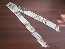 White Silk Twilly Scarf Handbag Tie Silk Tie Rope Belts Circles Tassels Violet