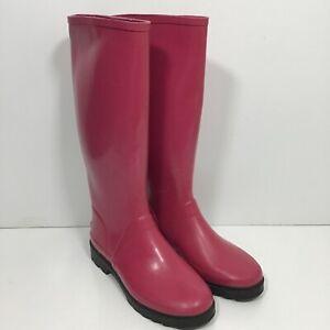 Ralph Lauren Polo Sport Tall Rubber Rain Boots Pink Women's Size 7 B Galoshes
