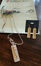 GOLD/SILVER ARROW NECKLACE AND EARRINGS. NWT. BY K & K INTERIORS.