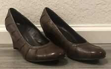"""White Mountain """"Nerissa"""" Women's Brown Leather Wedge Shoes Size 9M  T1"""