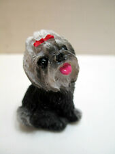 New ListingMiniature Realistic Havanese Dog Figurine Gray & White Doggie Puppy Figure Resin