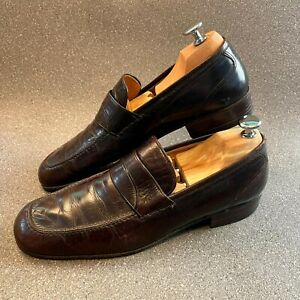 Vintage Celine Leather Mens Slip-On Formal Shoes, Brown, Size UK 8.5 (EUR 42)