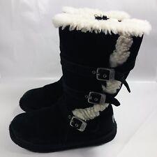 Women's UGG Australia Tall Black Leather 3 Buckle Strap Zip Boots-Sheepskin-5