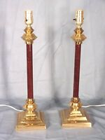 PAIR OF MID CENTURY MODERN BRASS LAMPS WITH MARBLEIZED PAINTED COLUMNS