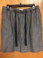 LOFT Skirt Women's Size S Small Elastic Waist Navy Platinum Stripe