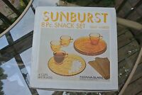 Vintage Indiana Glass Sunburst Snack Set 8 Piece Amer Yellow Plate Set with Cup