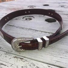 Vintage Fossil Brown 'Gator Leather & Silver Belt