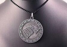 Steel Game of Thrones Stark DireWolf Sigil Pendant Chain w/Free Jewelry Box/Ship