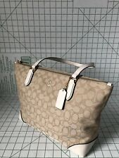 Coach F29958  Outline Signature Zip Tote Jacquard handbag Light Khaki /Chalk