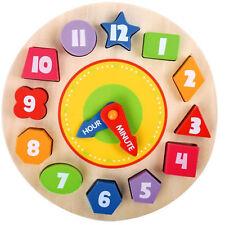 Kids Wooden Clock Shape Sorting Educational Preschool Puzzle Blocks Toddler Toy