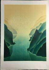 """Lithographie  ORGINALE """" Montagnes dans l'eau  """" signée au crayon - numérotée"""