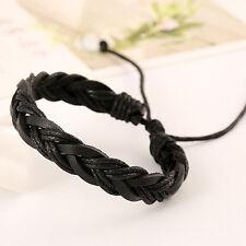 Hot Synthetic Leather Braided Rope Bracelet Wristband Men Women Bangle Cuff Gift