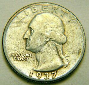 1937 D Circulated 90% Silver Washington Quarter