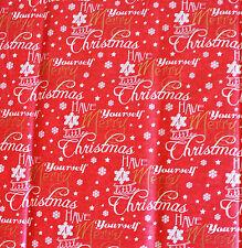 Formulazione di Natale & plain ROSSO TESSUTO confezionamento REGALO CARTA 10 fogli NATALE REGALO