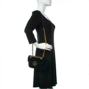 Gucci Marmont Black Leather GG Women Shoulder Bag Matelasse Mini