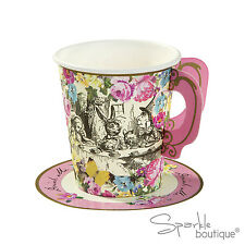 Truly Alice in Wonderland PAPER CUPS & SAUCERS -Tea Party- FULL RANGE IN SHOP