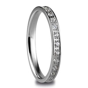 Bering Arctic Symphony Polished Silver Cubic Zirconia Steel Ring 556-17-101