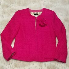 J Crew Pink Tweed Blazer Jacket SIZE 4 Wool Blend Lined Removable Flower Pin
