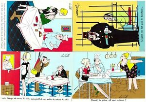 S27448) N. V. 4 Comics French Post Cards