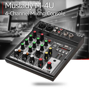 Portable 4-Channel BT Mixing Console Audio Mixer Built-in Reverb Effects