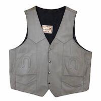 Vintage Espinozas Leather Vest Western Ranch Mens Size XL Horseshoe Pockets Gray
