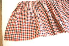 Navy, Red, Tan Gingham Checked Gathered Twin Bed Skirt