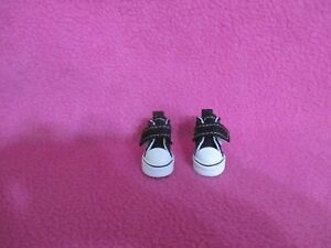"1-3/8"" BLACK HIGH TOP CANVAS DOLL SNEAKERS 4 BLYTHE BJD COLLECTIBLES SHOES GIFTS"
