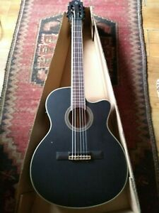 New Nylon String Electro/Acoustic Guitar Black Top: Solid spruce