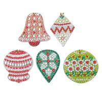 5pcs DIY Full Drill Special Shaped Diamond Painting Christmas Bell Keyrings Gift