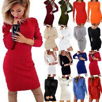Womens Winter Sweater Dress Long Sleeve Mini Short Bodycon Knitted Jumper Dress