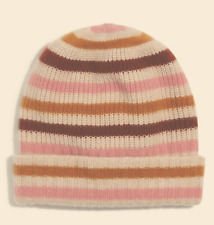 Madewell 100% Cashmere Cuffed Beanie Stripe Plush Double Layered OS MSRP $68 NWT