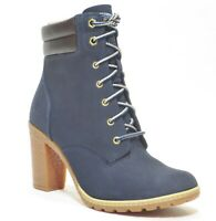 Timberland Women's Tillston High Heel Navy Blue Leather Boots Style A2B5H