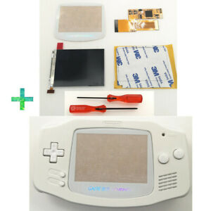 GBA IPS V2 Backlight Screen mod For Game Boy Advance w/ Pre-cut Pure White shell