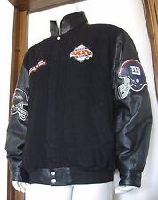 XL Men Jeff Hamilton Super Bowl XXXV Varsity Leather Wool Jacket Ravens Giants