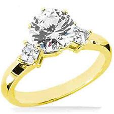 1 ct center Round Diamond Engagement Wedding 14K Yellow Gold Ring- 2 princess