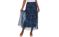 Linea by Louis Dell'Olio Regular Floral Print Pull-On Soft Skirt Navy 1X A341732