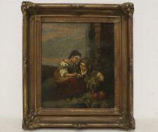 Antique 19c Portrait/Painting Of Fruit Peddler On Canvas