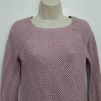 Ann Taylor Loft Womens Sweater Small Pink Crochet Boat Neck Cotton Camel Hair